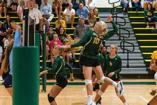 Raychel Ehlers launches for a spike against Cape Henlopen on Tuesday, Sept. 10. Indian River swept Cape, winning three straight sets.