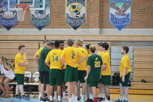 The boys volleyball team draws up strategy during the state championships finals vs. Salesianum on Wednesday, May 22.