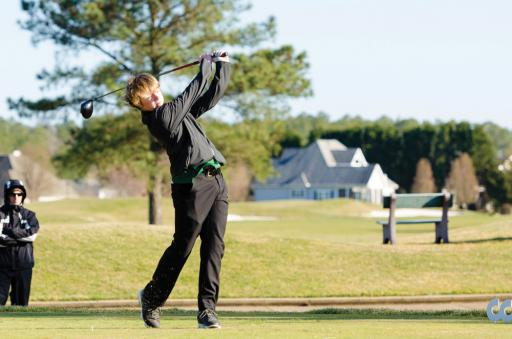 An Indian River golfer tees off during a match in 2018.
