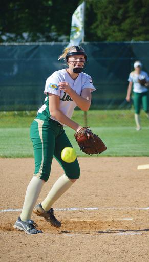 Abigail O'Shields sends a pitch to homeplate in IR's 4-1 loss to Lake Forest on Monday, May 21.