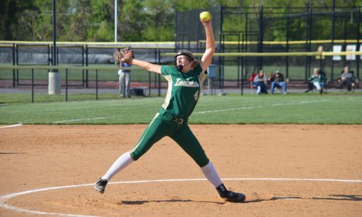 Junior pitcher Abby O'Shields gets ready to fire the ball during Tuesday's game against Milford.