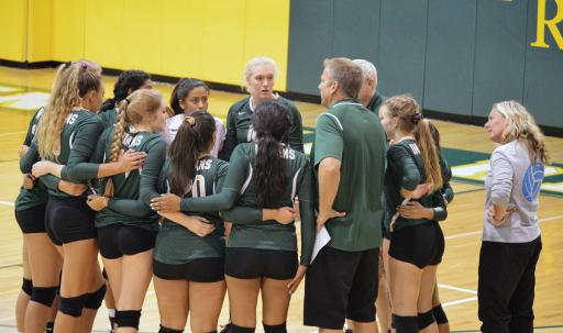 Indian River volleyball players huddle up during their matchup vs. Worcester Prep on Friday, Sept. 7.