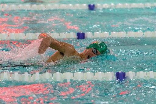 Indian River junior Declan Burke shows good breathing technique during a swim at Sussex Academy last year.