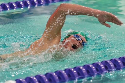 An IR boys' swimmer during a meet last year at Sussex Academy.