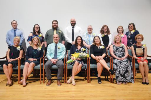 Courthney White of North Georgetown Elementary, front-center, who was honored as IRSD Teacher of the Year, gathers with the other building winners from the school district. (Not pictured is building winner Mallory Anderson.)