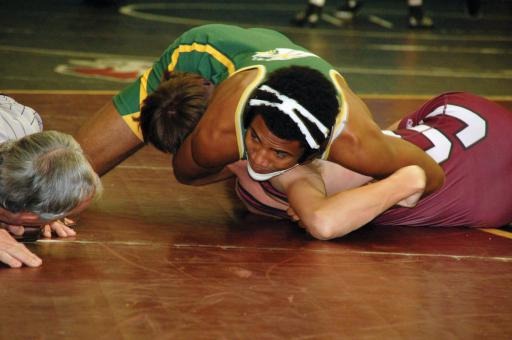 Jalen Holland-Halloway tries to pin his opponent in Indian River's final tournament of the year at Hammond High School in Maryland for the Hammond Team Invitational last weekend.