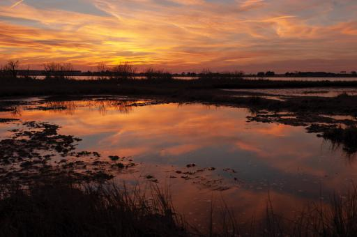 The sun sets over southern Delaware's inland bays.
