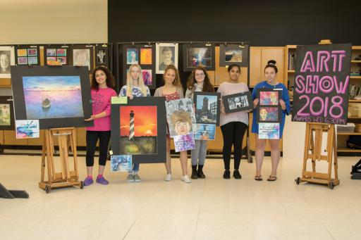 Local art students show a handful the talent produced at IRHS, including, from left, Liliana Guido, Megan Magoon, Olivia Garvey, Brooke Hoban, Jasmine Rodriguez Gonzales and Brianna McGee.
