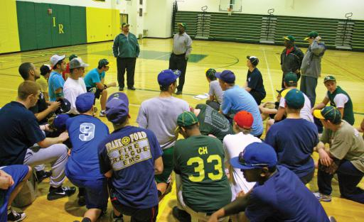 Former Indian River High School baseball coach Howard Smack leads the boys during an indoor practice in 2010.