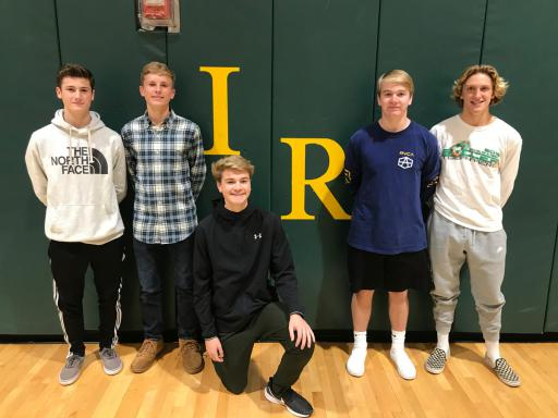 From left, Josh Bird, Jax Cathell, Willem Lambertson, Ryan Stone and Bastian Perry pose for a photo after collecting donations for troubled youth in Jamaica.