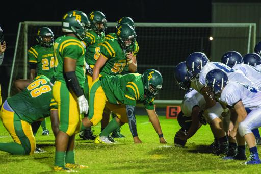 Indian River's defensive line lines up near the goal line in a game earlier this year.