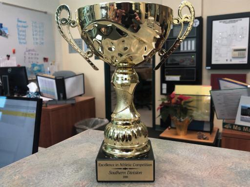 Above, the IR boys' volleyball team won the state championbship this year, contributing to the overall placement for the win of this year's Founders Cup. Right, the Founders Cup is displayed in the office at the school.