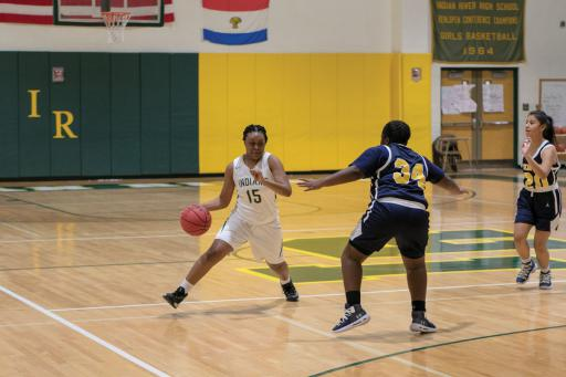 Indian River's Yonya Wise drives towards the paint in the girls' close loss to Seaford on Tuesday, Jan. 14.