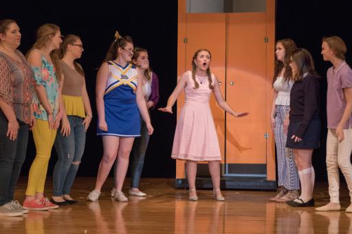 "IRHS presents ""Legally Blonde: The Musical!"" Abby Wilson (center) plays ""Elle Woods,"" the perky sorority girl who gets serious and goes to Harvard."