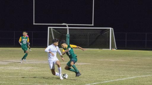 Jhony Ortiz Velasquez dribbles around a Cape defender in IR's win over Cape Henlopen.