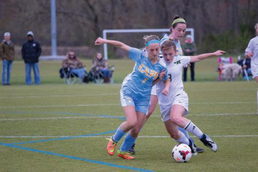 Isabella Binko, above, drives past a Cape defender in IR's come-from-behind win on Tuesday, April 24.