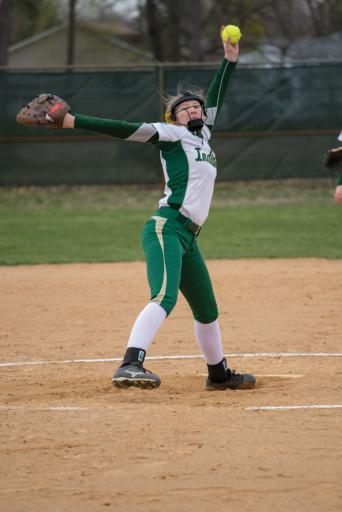 IR pitcher Abigail O'Shields sends one flying in Tuesday's 0-5 loss to Smyrna High School on Tuesday, April 2.