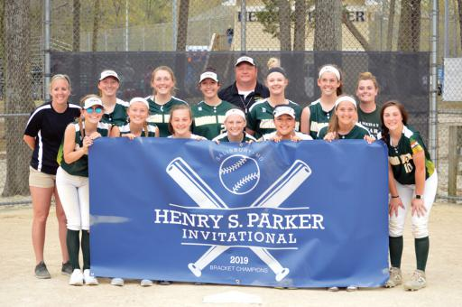 Indian River's softball team took home the title at the Henry S. Parker Invitational last week. Right, IR pitcher Abby O'Shields pitched the perfect game in Indian River's first game on Friday, winning 12-0.