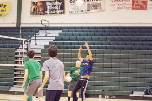 An IR player volleys a shot back to his opponent. The volleyball team enjoyed a 7-2 regular season, and look forward to competition in the future.