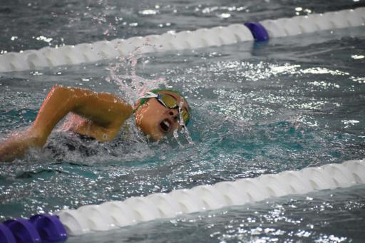 Indian River's Emma Barthelmess won in the 200-meter freestyle event at Sussex Academy on Senior Recognition Night.