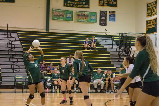 IR's Marianni Chavez Rodriquez sets the ball for her teammates during IR's win over Sussex Academy on Thursday, Oct. 18.