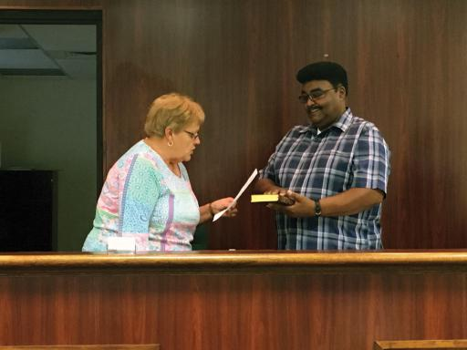 The newest face on the Frankford Town Council is Jimmy Sample, right, who took the oath of office in September, joining the council after the resignation of Velicia Melson.