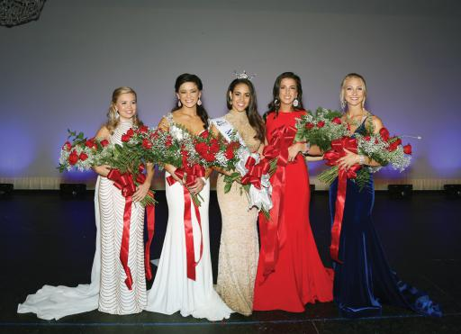 Miss Delaware's 2018 Court included, from left: Riley Slate, Miss Greenville, third runner-up; Rebecca Gasperetti, Miss Hockessin, first runner-up; Miss Delaware 2018 Joanna Wicks; Emily Beale, Miss Blue Gold, second runner-up; and Lauren Haberstroh, Miss Newark, fourth runner-up.