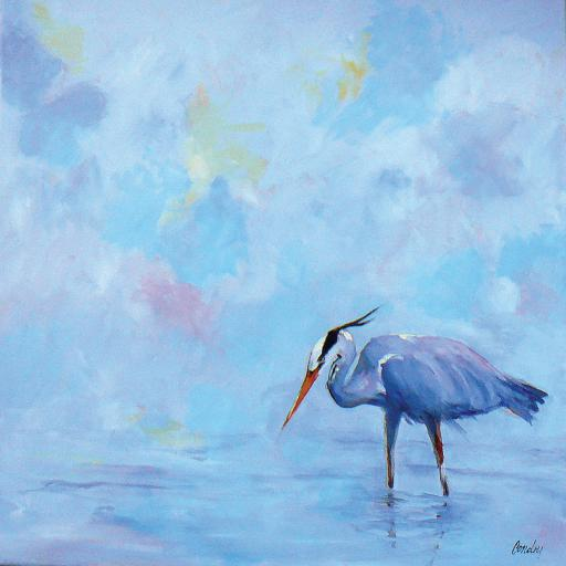Joyce Condry's acrylic 'Blue Heron' is just one of the pieces of art to be featured during Gallery One's 'The Color Blue' exhibit during the month of January.