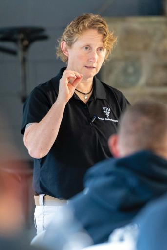 Dr. Janice Baker teaches the tactical canine medical training class held at Camp Barnes back in October. More than two dozen officers attended the free class, for which OVPD Cpl. Justin Hopkins raised more than half the funds.
