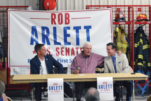 Bob 'The General' Knight stopped in at the Millville Volunteer Fire Company to voice his support of Rob Arlett.