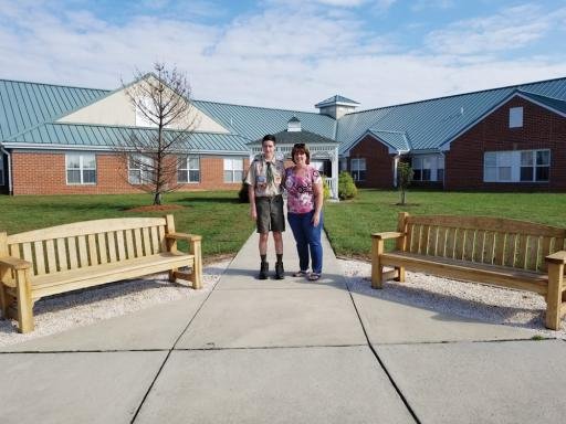Aidan Kypreos, 15, of Bethany Beach finished his Eagle Scout project, a pair of benches for the veterans to rest during walks, earlier this fall at the Delaware   Veterans Home in Milford.