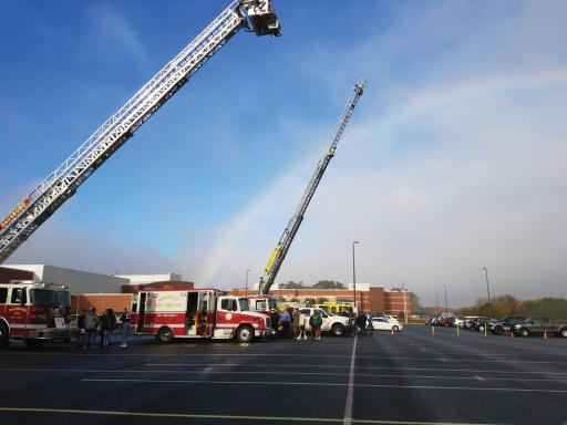 A delicate rain fell over the IRHS parking lot as students met their local fire companies.