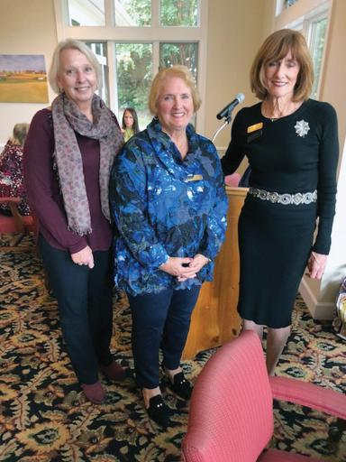 Left to right: Ann Gorrin, of Volunteer Delaware 50+ program Sussex County; Joanne Spink, a member of the Advisory Council of Volunteer Delaware 50+ Sussex County and member of Lord Baltimore Women's Club; are joined by LWBC president Barbara Sundlin at the group's October meeting.