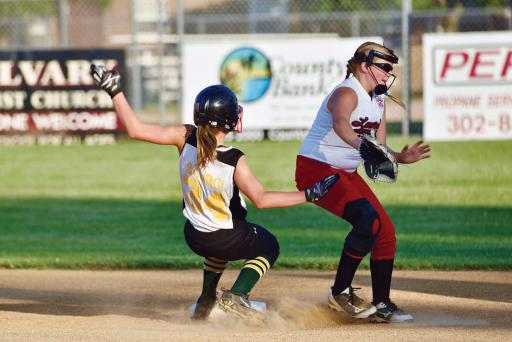 Sophie Scurci tries to get back to second base in LSLL's 11-10 loss to Laurel on Saturday, July 21.