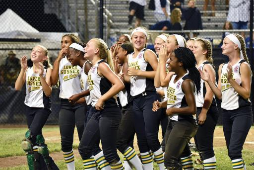 Following their 4-2 win over Maine on Tuesday, July 24, members of the Lower Sussex Little League's Major League Softball team engaged their fans with a chant of 'Dela-who,' and the fans responded with 'Dela-Ware.'