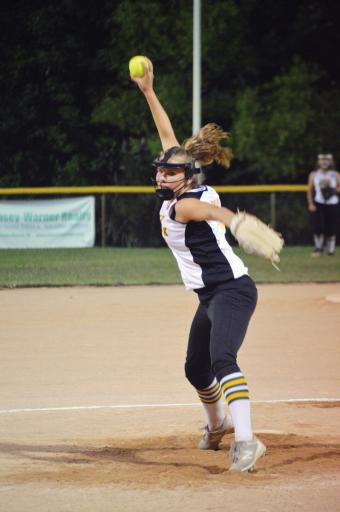 LSLL's Camryn Ehlers fires a pitch towards the plate during Sunday night's District 3 opening contest against Georgetown. Ehlers finished with a perfect game, including five strikeouts, in LSLL's 14-0 win.