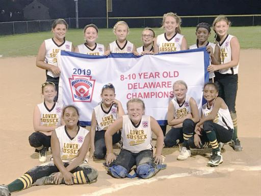 The LSLL Minor Softball team savors their championship win.