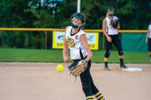 Gracie Hoban hurls one to homeplate during LSLL's 15-4 win over Millsboro on Friday, June 28.