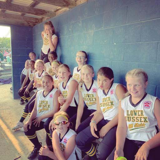 The LSLL Minor baseball team poses in their dugout. Members include Maggie Bare, Sophia Bowen, Addy Clark, Taygan Conaway, Angela Costango, Cierra Lewis, Jaelyn McCray, Mariah McCabe, Parker O'Shields, Macy Tubbs, Madelyn Wiest, Autumn Wille and Baylie Williamson.