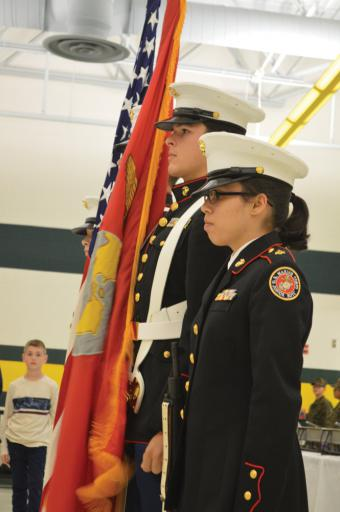 John Martin, left, and Josheline Aldrete, served as members of the Color Guard during the IRHS Marine Corps National Defense Cadet Corps celebration on Nov. 15.