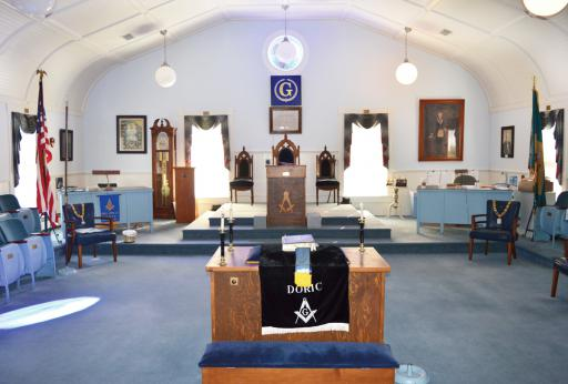 A rare look at the dias of the Mason's lodge