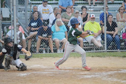 Lower Sussex's Max Starkey takes a swing at a pitch during Tuesday night's game against Milton in the Little League District 3 winner's bracket contest. The LSLL squad fell short 6-5.