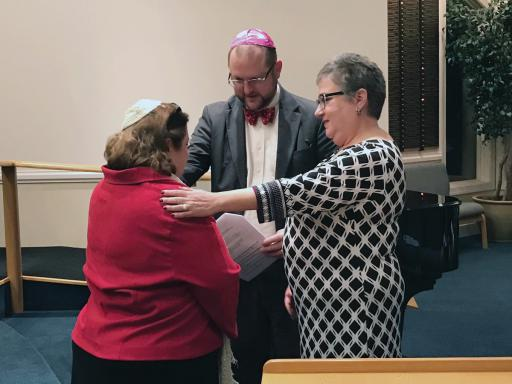 Rabbi Estelle Mills, left, of Temple Bat Yam was recently installed as rabbi for the temple in Berlin.