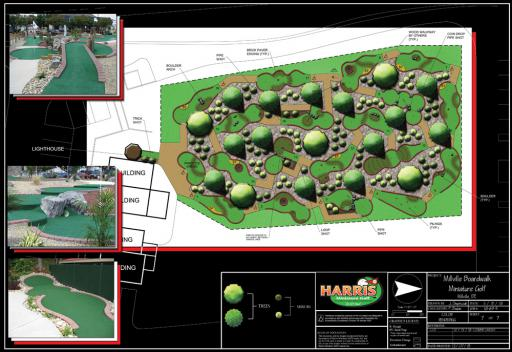 The Millville Boardwalk site plan, as proposed by Michael McCarthy, includes mini-golf and more.