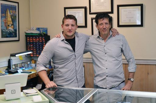 Sergio and Ruben Palazzo in their family-owned shop, Ocean View Jewelers. The shop specializes in custom jewelry and customer service.
