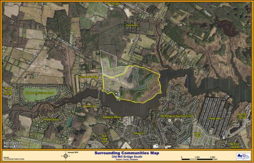 Sussex County Planning & Zoning Commission will review applications for 227 single-family homes near Dirickson Creek and Bayard — proposed housing developments called Old Mill Landing South (center, highlighted) and Old Mill Landing North (just above).