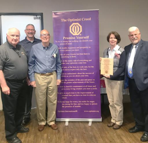 Charles Smith, president of the Ocean City Optimist Club, Mike DeFiore, the Zone Lt. Governor from the Salisbury Optimist Club, Tom and Connie Sohnleitner, and David Bowman from the Fort Smallwood, MD Optimist Club)