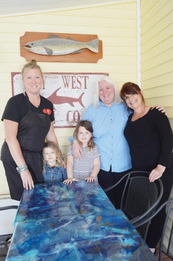 Three generations plus one: Robin Rankin, daughters Luna Lewis and Willow Lewis, Patsy Rankin and Kathy Wood gather on opening night, Friday, April 12, for the 20th anniversary year of Patsy's restaurant in Bethany Beach.