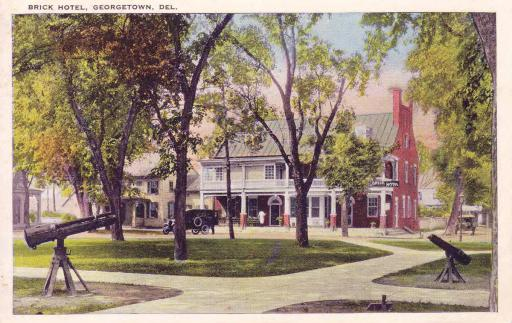 A 1924 postcard features The Circle and the Brick Hotel.