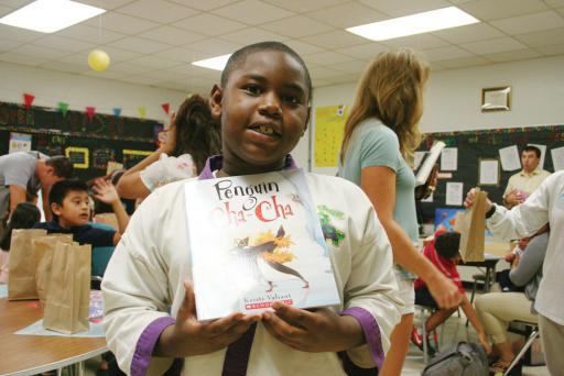 Noeh Rayne won a free book at the Family Reading &Math Night at the Phillip CShowell Elementary School.